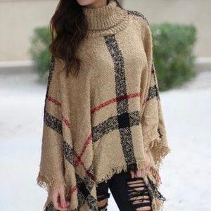 Sweaters - Plaid poncho